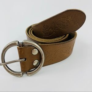 Aeropostale Brown Leather Belt with Stamped Roses